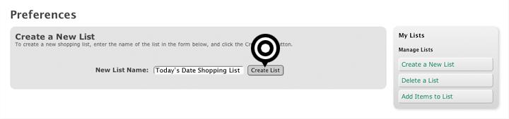 Create a new Shopping List